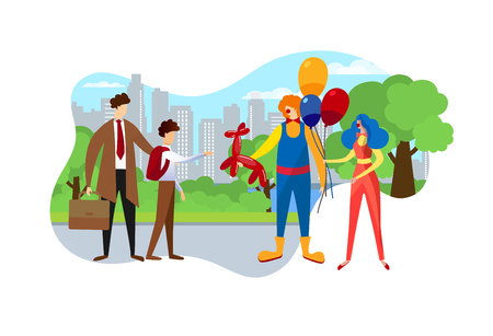 Father and Schoolboy Son Watching Funny Entertainment on Street or City Park at Sunny Day. Couple of Clowns with Balloons in Colorful Costumes Playing and Joking Cartoon Flat Vector Illustration. Icon Illustration