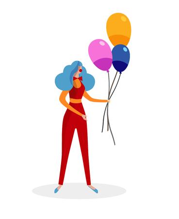 Animateur féminin portant un costume de clown rouge, une perruque bleue bouclée et un support de nez rouge avec un bouquet de ballons colorés isolé sur fond blanc. Personnage sans visage. Illustration vectorielle plane de dessin animé. Clipart.