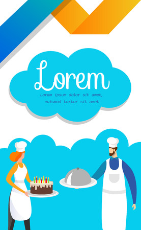 Man and Woman in Toques and Aprons Standing with Delicious Dish and Birthday Cake in Hands. Restaurant or Cafe Food Ordering, Menu, Flyer Template. Cartoon Flat Vector Illustration. Vertical Banner. Illustration