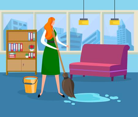 Young Woman Doing Wet Cleaning at Home Holding Tools. Girl with Broom and Bucket Removing Dirt from Carpet in Room on Furniture and Window Background. Puddle on Floor. Cartoon Flat Vector Illustration Vettoriali