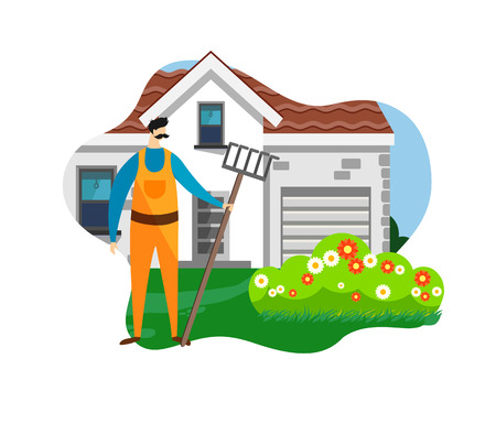 Farmer Man with Rake in Hand Standing on House and Flowerbed Background. Gardener Taking Care of Flowers, Growing Plants in Nature, Clean Ecology, Garden Tools. Cartoon Flat Vector Illustration. Icon.