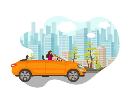 Beautiful Young Woman Driving Car in Big City. Stylish Girl Move along Road on Cityscape Background with Skyscrapers and Trees on Roadside. Urban Life. Speedway Cartoon Flat Vector Illustration. Icon