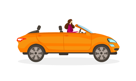 Brunette Girl in Red Dress Driving Orange Convertible Car Isolated on White Background. Elegant Young Woman Drive Cabriolet. Female Driver Faceless Character Cartoon Flat Vector Illustration. Clip Art Vecteurs
