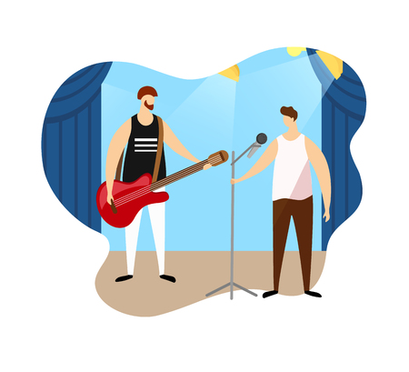 Adult Musician Playing Electric Guitar and Young Singer Performing Musical Number on Stage in Music Hall. Couple of Male Artists Giving Rock or Pop Music Concert Cartoon Flat Vector Illustration, Icon