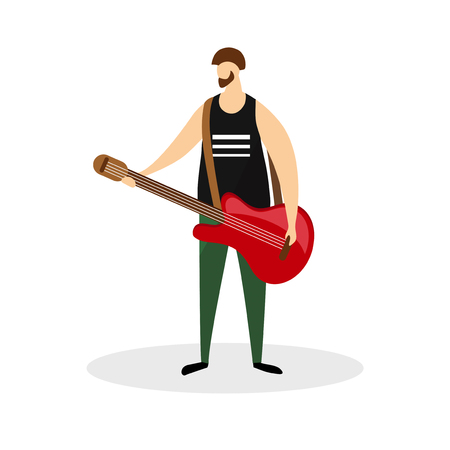 Male Rock Musician Character, Guitarist, Virtuoso Music Player Isolated on White Background. Full Height Young Bearded Man Hold Red Electric Guitar in Hands. Cartoon Flat Vector Illustration, Clip Art Stock Illustratie