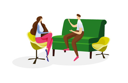Young Adorable Woman Sitting in Comfortable Armchair and Listening Man who Sit in Sofa Isolated on White Background. Warm Conversation of Loving Couple. Cartoon Flat Vector Illustration. Clip Art.