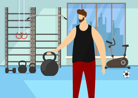 Athletic Bearded Faceless Man Character Practicing Exercise with Dumbbell in Gym with Sporty Accessories Background. Heavy Weight Sport. Healthy Lifestyle Activity. Cartoon Flat Vector Illustration.