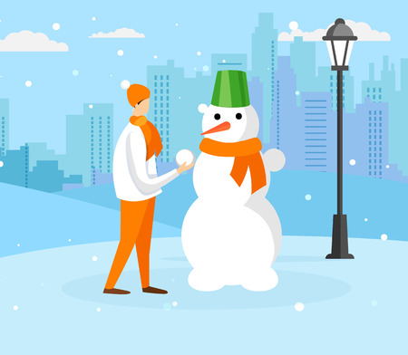 Teen Boy in Warm Clothing Making Snowman on Snowy Cityscape Background with Falling Snowflakes. Winter Time Outdoor Activity, Playing Kid, Christmas Holidays Vacation. Cartoon Flat Vector Illustration Vektorové ilustrace