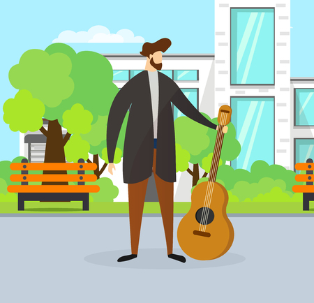 Young Bearded Man Guitarist. Talented Musician Guy Holding Guitar on Urban Background with Building, Bench and Green Trees. Street Musical Performance. Outdoor Show. Cartoon Flat Vector Illustration.