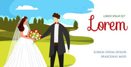 Enamored Happy Couple of Beautiful Bride in White Dress and Handsome Groom in Black Suit Standing with Holding Hands on Field. Wedding Day Flyer. Cartoon Flat Vector Illustration. Horizontal Banner.