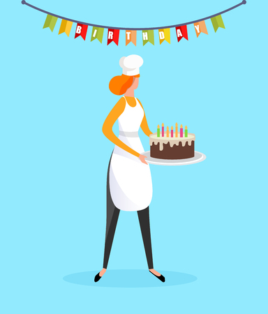 Young Redheaded Woman in White Cook Toque and Apron Holding Birthday Cake in Hands Isolated on Blue Background with Flags Garland Decoration. Party Celebration Treat. Cartoon Flat Vector Illustration.