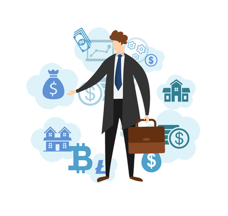 Young Faceless Business Man Character Wearing Formal Suit and Coat with Briefcase in Hand Standing on White Background with Finance and Money Icons Around. Cartoon Flat Vector Illustration. Clip Art