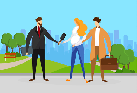 Reporter or Journalist with Microphone Interviewing Young Couple of Pregnant Woman and Business Man with Briefcase on Street with Cityscape Background in Summer Time. Cartoon Flat Vector Illustration. Vectores