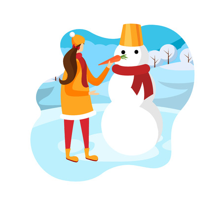 Cute Happy Girl Playing with Funny Dressed Snowman with Carrot at Winter Season in Snowy Ground Background Outdoors. Holiday Greeting Card Element, Vacation. Cartoon Flat Vector Illustration. Icon