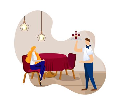 Schöne wehmütige junge Dame, die allein im Restaurant Warteordnung alkoholisches Getränk sitzt. Kellner in Uniform bringt dem Kunden Rotwein und Gläser. Luxus-Café. Cartoon-flache Vektor-Illustration. Symbol Vektorgrafik