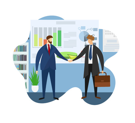Boss Meeting in Office. Leader of Company Welcome Partner for Board Conversation or Business Discussion of Project Development Strategy. Agreement Conclusion. Cartoon Flat Vector Illustration. Icon