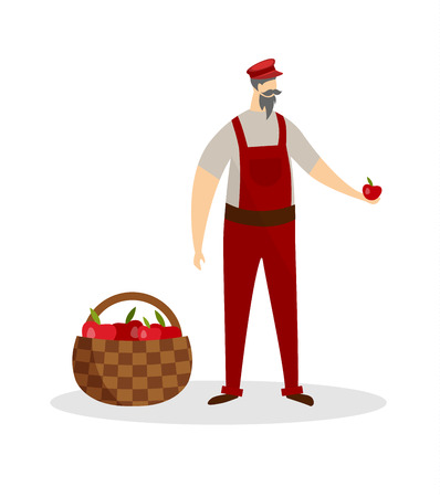 Aged Mustached Man Farmer Gardener in Working Overalls and Cap Holding Ripe Apple in Hand Isolated on White Background. Basket with Fruits. Organic Food. Cartoon Flat Vector Illustration. Clip Art. Illustration