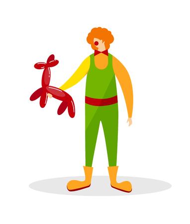 Animateur portant un costume de clown drôle, d'énormes bottes, une perruque bouclée au gingembre et un support de nez rouge avec un ballon en forme d'animal isolé sur fond blanc. Personnage. Illustration vectorielle plane de dessin animé. Clipart.