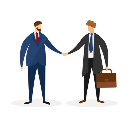 Male Characters in Formal Suits Shaking Hands Isolated on White Background. Handshake Businessman Agreement. Symbol of Successful Transaction, Partnership. Cartoon Flat Vector Illustration. Clip Art. Vektorgrafik