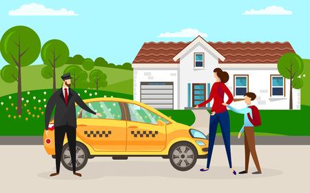 Conductor experimentado frente a su automóvil esperando pasajeros en el edificio de la casa. Mujer con niño de escuela va a sentarse en taxi amarillo. Madre con hijo pidió taxi. Ilustración de Vector plano de dibujos animados.