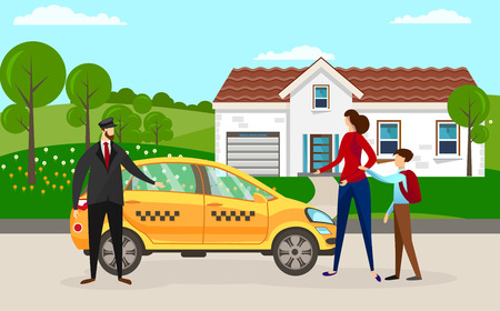 Experienced Driver in Front of his Car Waiting for Passengers at Home Building. Woman with Little School Boy Going to Sit in Yellow Cab. Mother with Son Ordered Taxi. Cartoon Flat Vector Illustration.