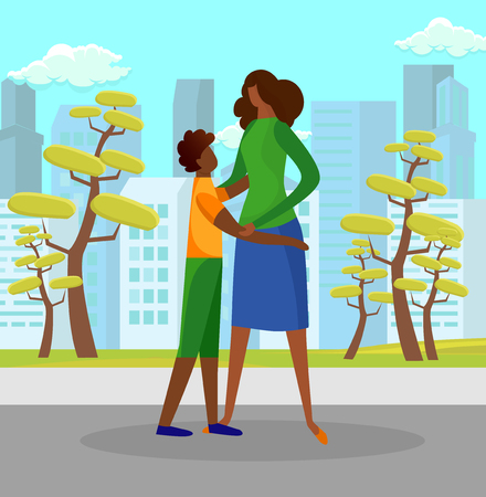 Teenage Boy Watching with Love and Hugging Woman Standing on City Street Background with Skyscrapers and Trees. Son Tenderly Embracing Mother Outdoors in Sunny Day. Cartoon Flat Vector Illustration.
