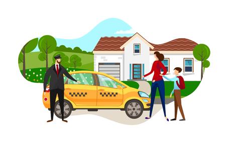 Joven madre con hijo de niño de escuela pidió coche de taxi en casa en el suburbio de la ciudad. Conductor de hombre parado cerca de pasajeros en espera de taxi amarillo, cliente de servicio de mujer. Ilustración de Vector plano de dibujos animados. Icono.