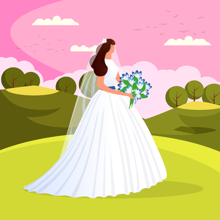 Beautiful Gorgeous Bride with Wedding Flowers Bouquet Stand Outside on Nature Landscape Background. Attractive Newlywed Woman in White Dress. Wedding Day. Marriage. Cartoon Flat Vector Illustration.
