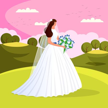 La bella sposa splendida con il mazzo dei fiori di nozze sta fuori sul fondo del paesaggio della natura. Attraente donna appena sposata in abito bianco. Giorno del matrimonio. Matrimonio. Piatto di vettore del fumetto.