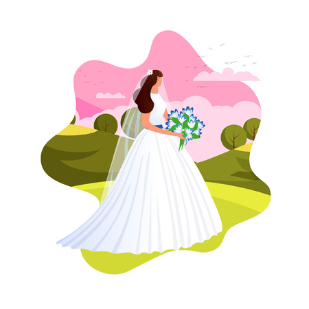 Elegant Young Bride in Beautiful White Dress Getting Ready for Wedding Ceremony. Bridegroom Woman Stand on Sunset Landscape Background. Marriage, Wedding Event. Cartoon Flat Vector Illustration. Icon.
