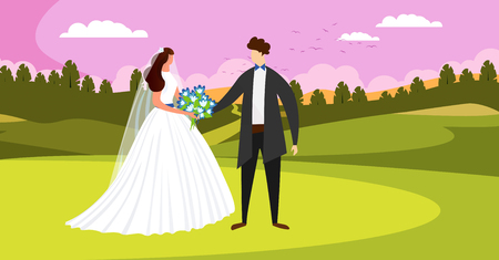 Outside Wedding Ceremony. Happy Bridal Couple Standing on Beautiful Field Landscape with Sunset Pink Sky. Man and Woman Getting Married. Bride and Groom Holding Hands. Cartoon Flat Vector Illustration.