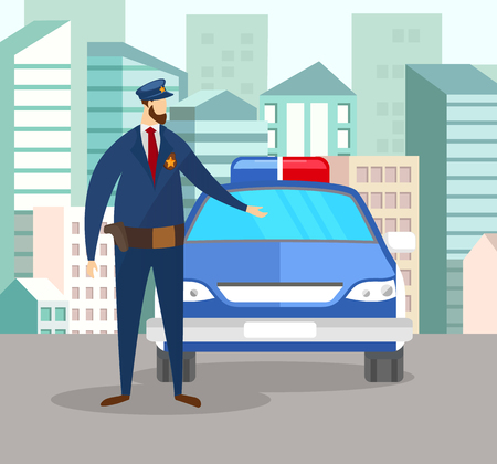 Armored Policeman Officer in Uniform Standing at Police Car on Cityscape Background with Modern Buildings. Territory Patrol. Public Defence. Male Profession, Guardian. Cartoon Flat Vector Illustration