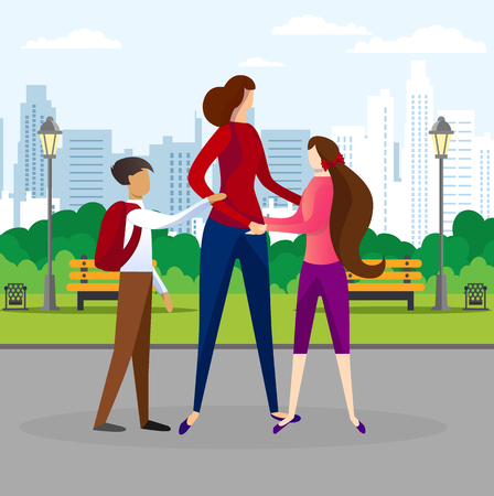 Young Pretty Woman Walking with her Teenage Children in Public City Park at Sunny Day. Mother, Son and Daughter Happy Family Embracing. Togetherness, Love, Relations. Cartoon Flat Vector Illustration.