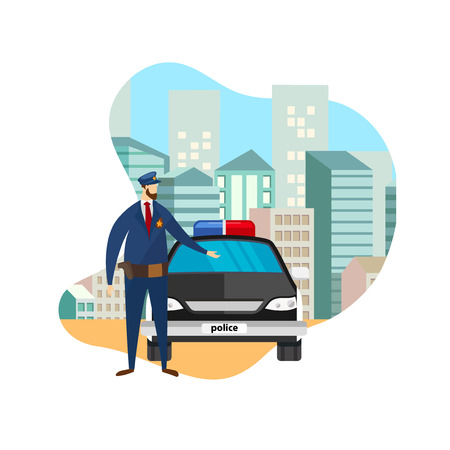 Full Body Front View of Police Officer Standing at Working Car. Serious Cop, Policeman, Security Guard Watch Law and Order in Big City. Protection of Citizens. Cartoon Flat Vector Illustration. Icon. Ilustração