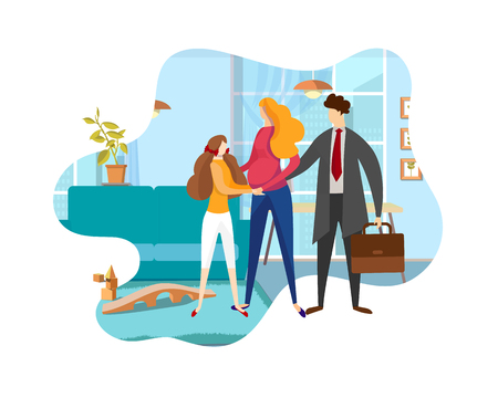 Loving Family of Father, Pregnant Mother and Teen Daughter Every Day Routine. Dad Leaving at Work, Wife and Child See him Off. Faceless Characters. Sweet Moment. Cartoon Flat Vector Illustration. Icon