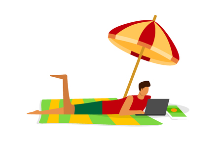 Busy Young Man Working on Laptop Lying on Tropical Beach Next to Ocean Isolated on White Background. Freelancer Work Distant. Business Man Summer Vacation. Cartoon Flat Vector Illustration. Clip Art.