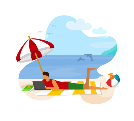 Relaxed Man Lying on Seaside with Laptop. Distant Work or Online Education Using Internet Technology. Worldwide Net in Human Life. Freelancer, Student Lounging. Cartoon Flat Vector Illustration. Icon.