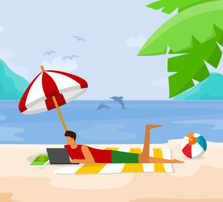 Young Man Relaxing on Beach Lying with Laptop on Sand Under Umbrella near Sea Coast. Freelancer Working Distant, Online Education, Smart Internet Technology in Life. Cartoon Flat Vector Illustration.