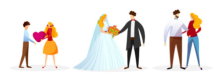 Set of Loving People Isolated on White Background. Teen Girl Gift Heart to Boy. Wedding Couple. Married Man and Pregnant Woman. Happy Family Characters, Love Cartoon Flat Vector Illustration. Clip Art Illustration