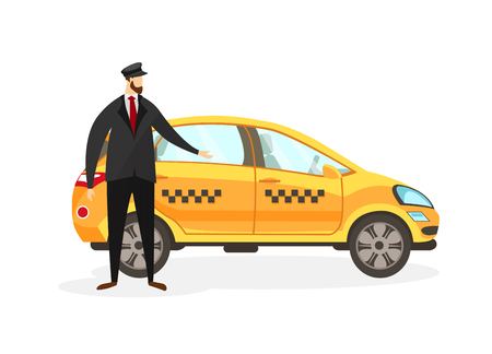 Bearded Taxi Driver Stand near Yellow Car Isolated on White Background. Young Faceless Man Character in Uniform Invite to Sit in Transport. Male Profession. Cartoon Flat Vector Illustration. Clip Art.