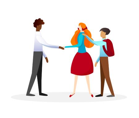 Cute Redheaded Girl in Dress Shaking Hand of Boy with Brown Skin. Schoolboy Put Arm on Schoolgirls Shoulder. Multicultural Friendship, Children Relations, Childhood. Cartoon Flat Vector Illustration. Vector Illustration