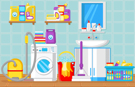 Bathroom and Laundry Room Concept. Washing Machine. House Cleaning Tools. Household Water Filtration set. Aqua Purification Filters and Filtration at Home. Vector Flat Illustration. Stock Illustratie