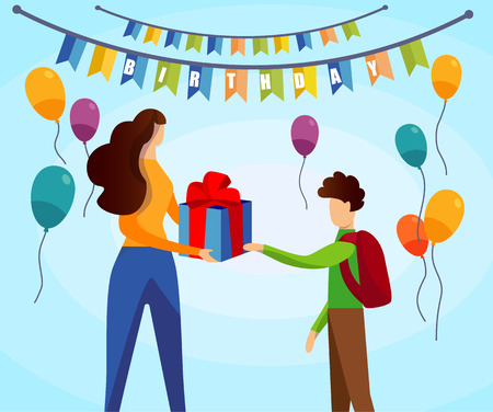 Happy Birthday Card. Young Woman Giving Wrapped Gift Box to Little School Boy on Colorful Background with Festive Flags and Balloons, Joyful Teenager with Present. Cartoon Flat Vector Illustration. Vettoriali