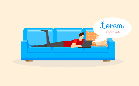 Young Man Lying on Sofa with Laptop on Beige Background with Speech Bubble. Male Character Chatting in Social Network Getting Message from Friends. Cartoon Flat Vector Illustration. Horizontal Banner Ilustração