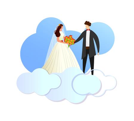 Heureux jeune couple d'amoureux de jeunes mariés en robe blanche et marié en costume debout sur les nuages. Personnages sans visage de mariage homme et femme main dans la main. Illustration vectorielle plane de dessin animé. Clipart.