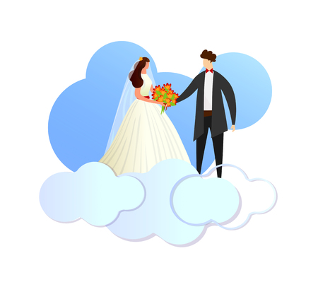 Happy Newlywed Young Loving Couple of Bride in White Dress and Groom in Suit Standing on Clouds. Faceless Characters of Wedding Man and Woman Holding Hands. Cartoon Flat Vector Illustration. Clip Art. Illustration
