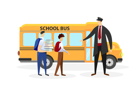 Man Driver in Uniform Meeting School Boys in Front of Yellow Bus Doors Isolated on White Background. Pupils Going to College from Home. Boys Classmates. Cartoon Flat Vector Illustration. Clip Art.