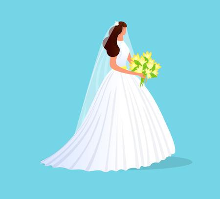 Hermosa chica morena en vestido de novia blanco con encaje, velo y ramo de flores en manos aisladas sobre fondo azul. Carácter sin rostro de la mujer de la novia. Boda. Ilustración de Vector plano de dibujos animados