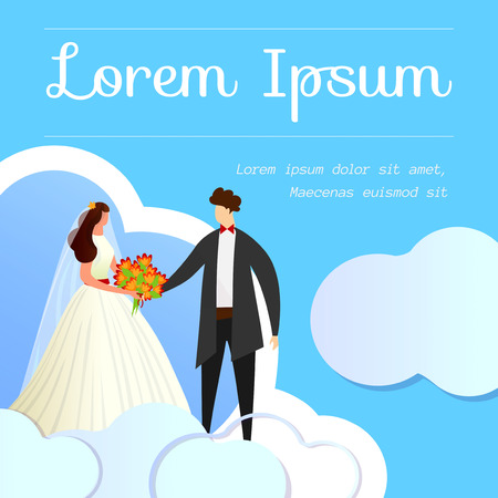 Beautiful Wedding Couple Holding Hands on Blue Cloudy Background. Invitation, Social Media Poster, Template. Romantic Greeting Card. Bride and Groom. Cartoon Flat Vector Illustration. Square Banner. Ilustrace