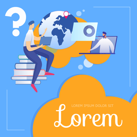 Online Education Course. Student Sitting on Books Heap Listening Teacher Speaking Through Laptop Monitor. Young People Learning Distant. Social Media Ad Cartoon Flat Vector Illustration. Square Banner